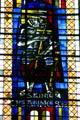 Modern stained-glass of Ste. Joan of Arc in Cathedral. Metz, France.