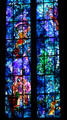 Stained glass highlights of lives of the Kings of France by Marc Chagall in Cathedral. Reims, France.
