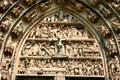 Crucifixion carvings over central door of Cathedral. Strasbourg, France.