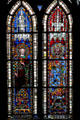 Stained glass portraits of kings in Cathedral. Strasbourg, France.
