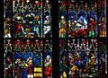 Stained glass nativity scenes in Cathedral. Strasbourg, France.
