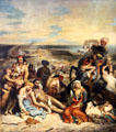 Massacre at Chios ; Greek Families await Death or Slavery painting by Eugène Delacroix at Louvre Museum. Paris, France.