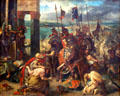 Fall of Constantinople to Crusaders on April 12, 1204 painting by Eugène Delacroix at Louvre Museum. Paris, France.