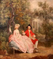Conversation in a park painting by Thomas Gainsborough at Louvre Museum. Paris, France.