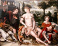 David & Bathsheba painting by Jan Metsys son of Quentin at Louvre Museum. Paris, France.