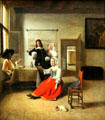 Female drinker painting by Pieter de Hooch of Amsterdam at Louvre Museum. Paris, France.
