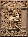 Ivory diptych panel with a triumphant emperor at Louvre Museum. Paris, France.