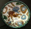 Faience plate with rabbit design from Andalusia, Spain at Louvre Museum. Paris, France.