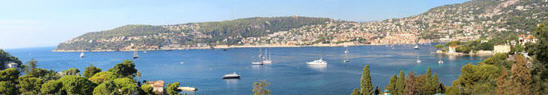 Panorama from Villa Ephrussi de Rothschild. Saint Jean Cap Ferrat, France.