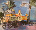 Casino & Two Carriages on the Jetty Promenade painting by Raoul Dufy at Nice Fine Arts Museum. Nice, France.