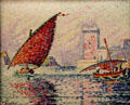 Marseille, fishing boats & Fort St. Jean painting by Paul Signac at Museum of the Annonciade. St Tropez, France