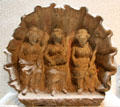 Three Roman matres goddesses in recessed shell at Gallo Roman Museum. Lyon, France.