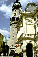 City Hall & Firetower which is symbol of Sopron Roman Foundation, has 14th C square base with Renaissance style Onion dome. Hungary.