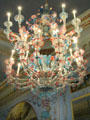 Murano colored-glass chandelier from Venice in Long Gallery at Castletown House. Ireland.