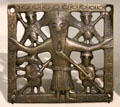 Copper alloy crucifixion plaque possibly from Killaloe at National Museum of Ireland Archaeology. Dublin, Ireland.