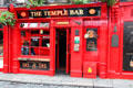 The Temple Bar red entrance door. Dublin, Ireland