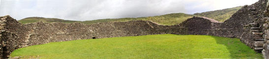 Panorama of circular interior of Staigue Fort on Ring of Kerry. Ireland.