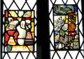 Stained glass panels in Main Guard at Bunratty Castle. County Clare, Ireland.