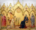 Annunciation with St. Ansanus & St. Maxima painting by Simone Martini & Lippo Memmi at Uffizi Gallery. Florence, Italy.