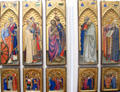 Panels with saints paintings by Giovanni da Milano at Uffizi Gallery. Florence, Italy.