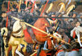 Detail of lances in battle of San Romano painting by Paolo Uccello at Uffizi Gallery. Florence, Italy.