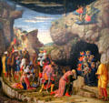 Epiphany panel from Life of Christ painting by Andrea Mantegna at Uffizi Gallery. Florence, Italy.