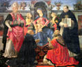 Madonna & Child Enthroned with two angels, St. Denis, St. Dominic, Pope St. Clement, & St. Thomas Aquinas painting by Ghirlandaio & workshop at Uffizi Gallery. Florence, Italy.