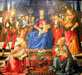 Madonna & Child Enthroned with four angels, St. Justus, St. Zenobius, St. Michael, & St. Raphael painting by Ghirlandaio & workshop at Uffizi Gallery. Florence, Italy.