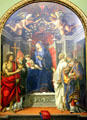 Madonna & Child Enthroned with St. John the Baptist, St. Victor, St. Bernard, & St. Zenobius painting by Filippino Lippi at Uffizi Gallery. Florence, Italy.