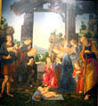 Adoration of the shepherds painting by Lorenzo di Credi at Uffizi Gallery. Florence, Italy.