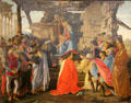 Adoration of the Magi painting by Sandro Botticelli at Uffizi Gallery. Florence, Italy.