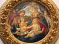 Madonna & Child with five angels painting by Sandro Botticelli at Uffizi Gallery. Florence, Italy.