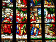 Biblical scene in stained-glass of Duomo. Milan, Italy.