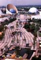 Overview of Expo 85 pavilions with curving pavement. Tsukuba, Japan.