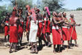 Group of Samburu dancers performing traditional tribal jumping dance. Kenya.