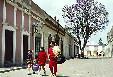 Typical street scene in town of Huejotzingo. Mexico.