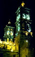The Cathedral at night in Puebla. Mexico.