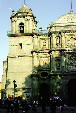 The bell tower & thick stone walls of Cathedral in Oaxaca. Mexico.