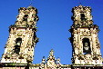 Lavishly decorated towers of church of Santa Prisca in Taxco. Mexico.