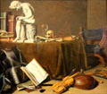 Vanitas still life with the Spinario painting by Pieter Claesz at Rijksmuseum. Amsterdam, NL.