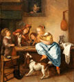 Children teaching a cat to dance painting by Jan Steen at Rijksmuseum. Amsterdam, NL.