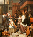 Feast of St. Nicholas painting by Jan Steen at Rijksmuseum. Amsterdam, NL.