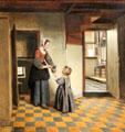 Woman with a child in a pantry painting by Pieter de Hooch at Rijksmuseum. Amsterdam, NL.