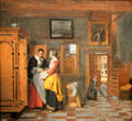 Interior with women beside a linen cupboard painting by Pieter de Hooch at Rijksmuseum. Amsterdam, NL.