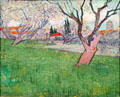 Orchards in blossom, view of Arles painting by Vincent van Gogh at Van Gogh Museum. Amsterdam, NL.