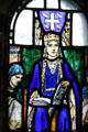 Detail of Queen Margaret stained glass window at St. Margaret's Chapel. Edinburgh, Scotland.