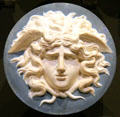 Blue jasperware Gorgon Medusa by Wedgwood at National Museum of Scotland. Edinburgh, Scotland.