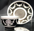 Black jasperware tea bowl & saucer by Josiah Wedgwood & Sons at National Museum of Scotland. Edinburgh, Scotland.