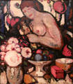 Fleur et Fruits painting by John Duncan Fergusson of Scottish Colourists at Hunterian Art Gallery. Glasgow, Scotland.