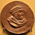 Henry VIII, 10th anniversary as head of Church of England medal at Hunterian Art Gallery. Glasgow, Scotland.